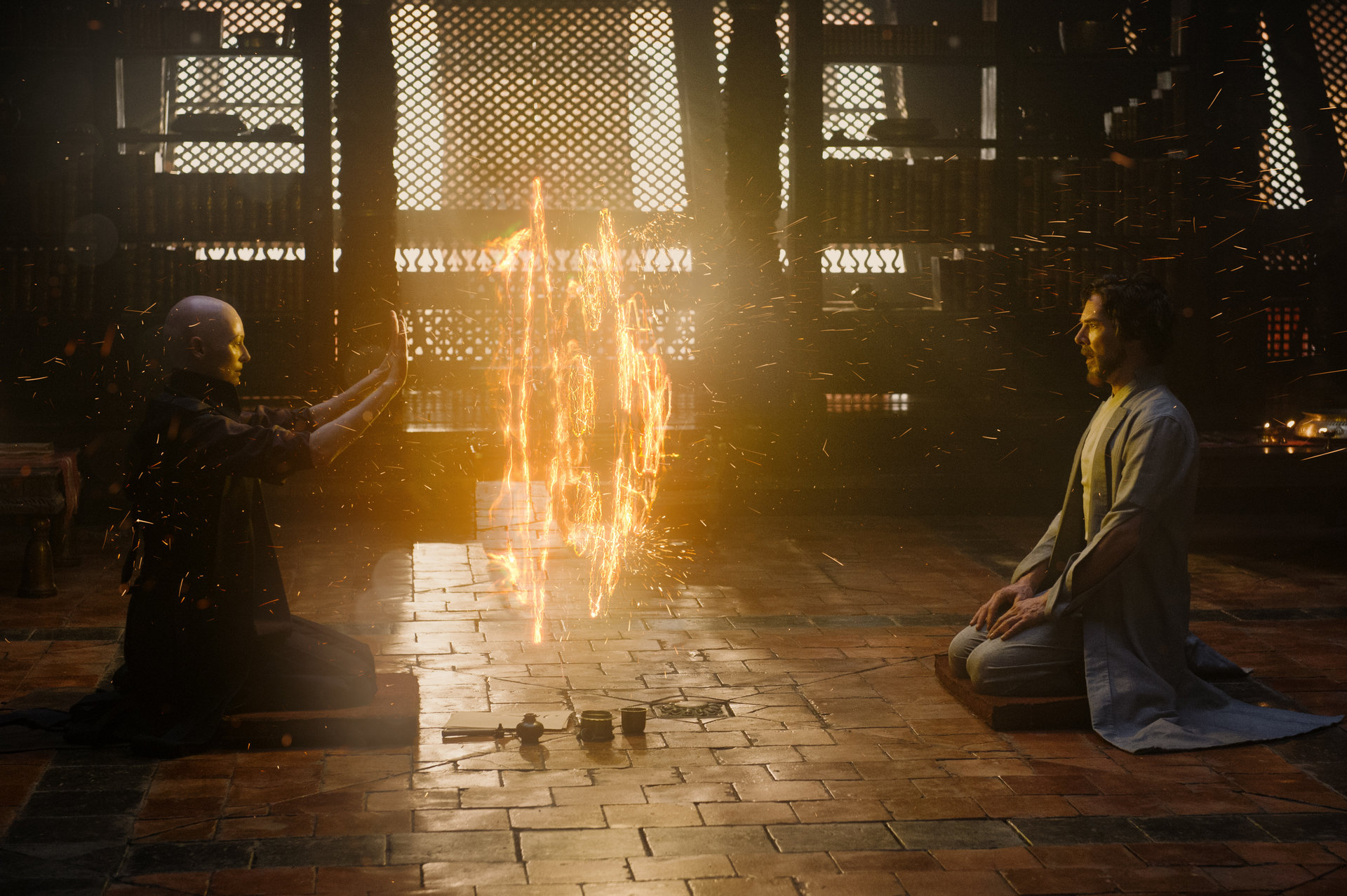 Marvel's DOCTOR STRANGE  L to R: The Ancient One (Tilda Swinton) and Doctor Stephen Strange (Benedict Cumberbatch)  Photo Credit: Jay Maidment  ©2016 Marvel. All Rights Reserved.